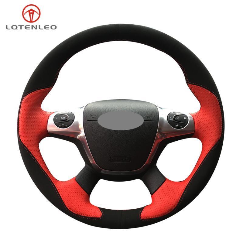 Manejo De cuero Negro LQTENLEO gamuza roja cubierta de rueda para el foco 3 2011-2014 KUGA escape 2013-2020 C-MAX 2011-2020 Tránsito