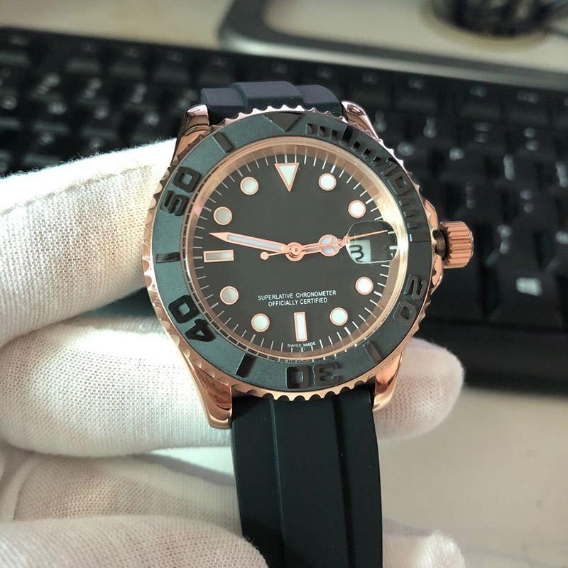 caijiamin-Erkek Otomatik 2813 hareketi 42mm Gül altın durumda kauçuk saatler kayış aydınlık kol saati Orologio di Lusso 5ATM su geçirmez