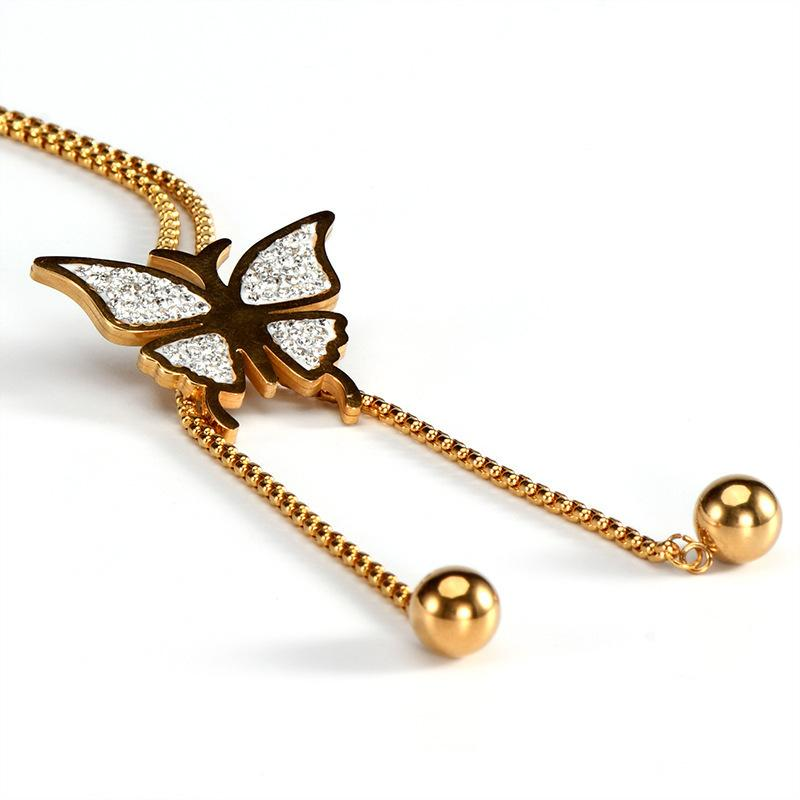 camisola longa cadeia de borboleta de titânio de aço pingente de colar feminina Diamante da forma do aço inoxidável