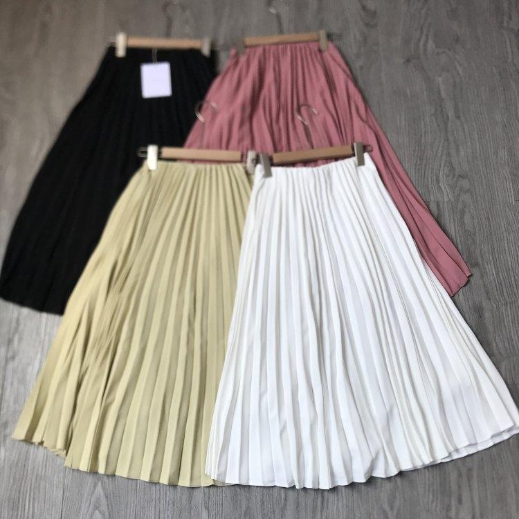 e23SN cintura elástica mano plisada todo-fósforo una falda falda de carne de primavera y verano para las mujeres oculta verano mujeres hechas a mano