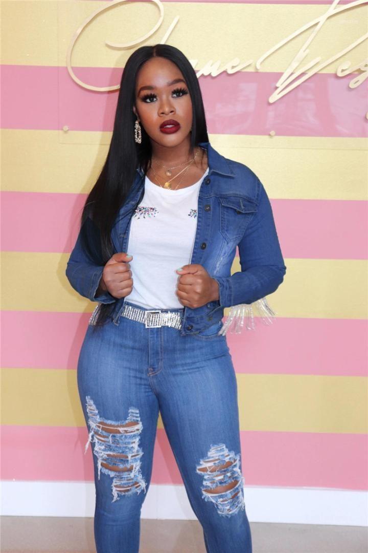 Street Styles Manteaux Femmes Designer Jeans Holes Veste et Tassel Décoration Denim Fashion Veste de haute qualité