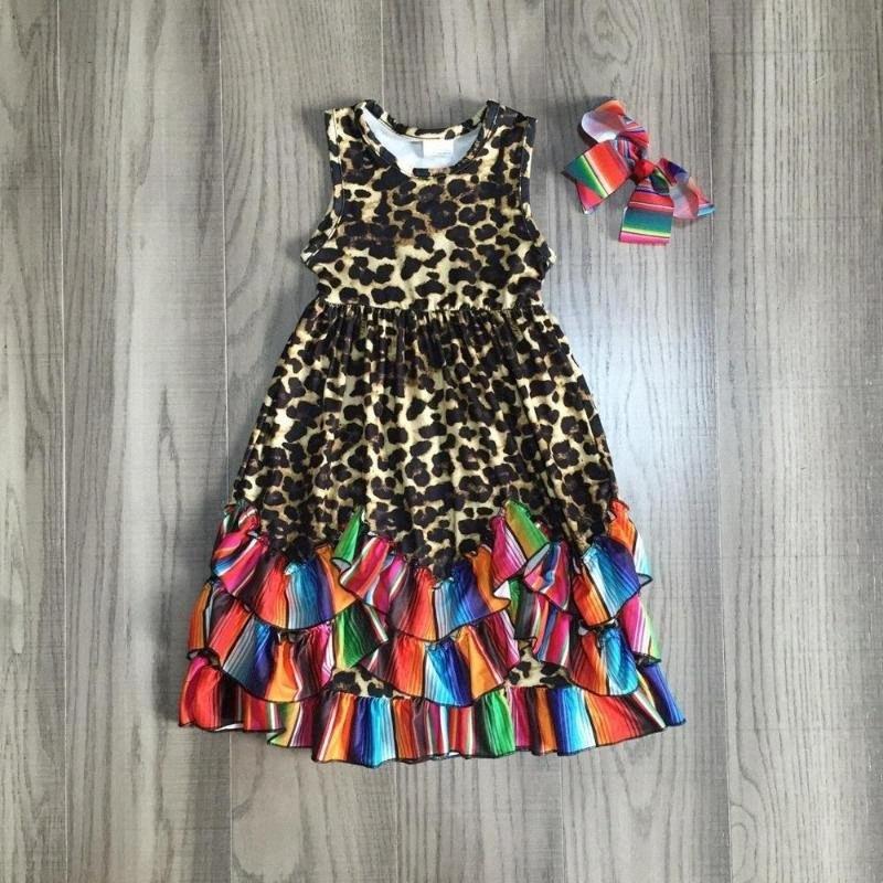 vestito ragazze vestito senza maniche leopardo di estate delle neonate con orlo multicolore alla caviglia con fiocco LdxQ #