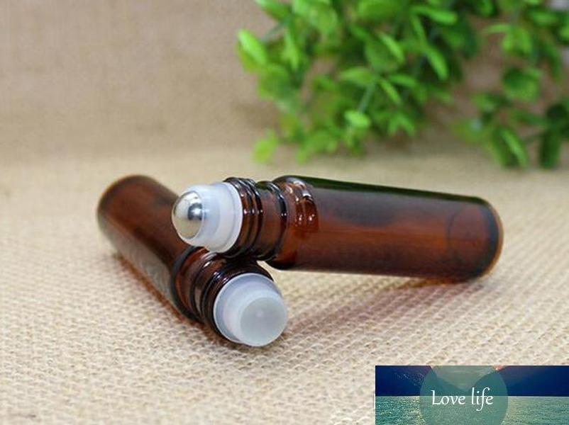 10ml 1 / 3oz Kalın AMBER Cam Rulo Şişe Esansiyel Yağı Boş Aromaterapi Parfüm Şişe üzerinde + Metal Silindir Topu TARAFINDAN DHL Kargo