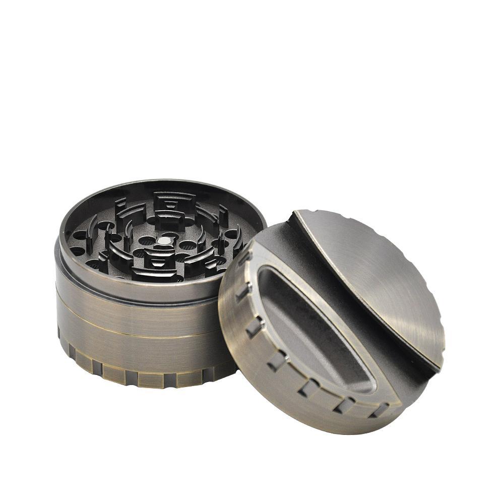 Schwerraucher Zinklegierungsschleifendurchmesser 80mm 4 Schichten Tabakbrecher Kräuter / Gewürz Miller mit Halter Lagerung