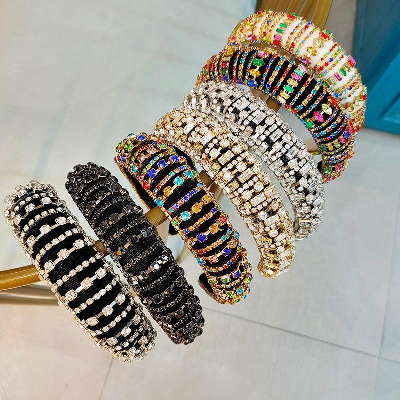 Europa e América Cheio de Cristais Bandas de Cabelo Grosso Anti-Slip Headband Esponja Homem-Feito de Diamante Headband Woman