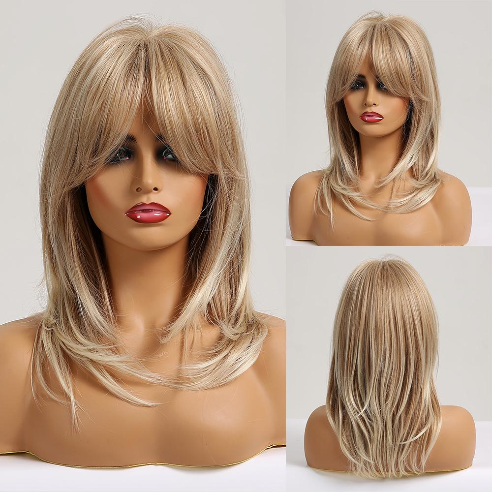 qualityBlack to Brown Omber Straight Bob Wigs Medium Length Synthetic Wigs for Women Cosplay Wig with Bangs Heat Resistant Wig