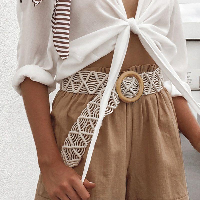 Mode Bouton en bois Ceinture élastique Ceinture de paille décoration femmes taille ceinture