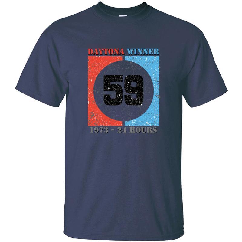 Komik 59 Vintage yarış Daytona 1973 Tişört İçin Erkekler% 100 Pamuk Mektupları Ç Boyun Streetwear Yetişkin T Shirt Üst Kalite