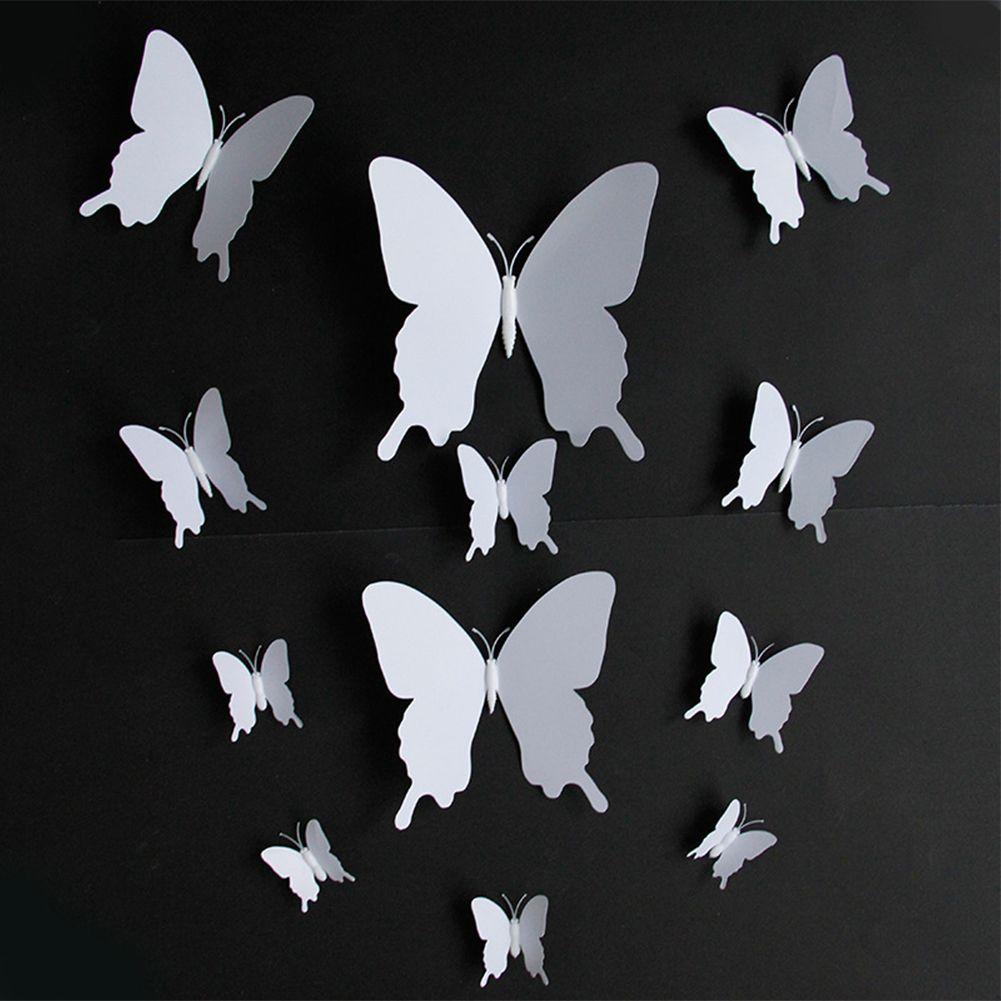 12st Mit Magneten Single Layer-Wand-Aufkleber-Fenster 3D-Schmetterling PVC Home Decor