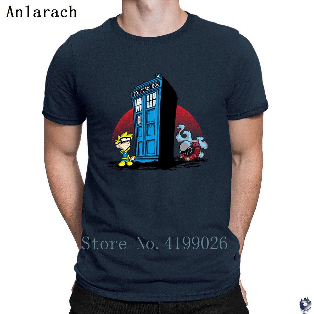 Spiffs Blue Box magliette T supera il 100% di personalità costume maschile maglietta divertente Lettera casual 2018 Anlarach Carino