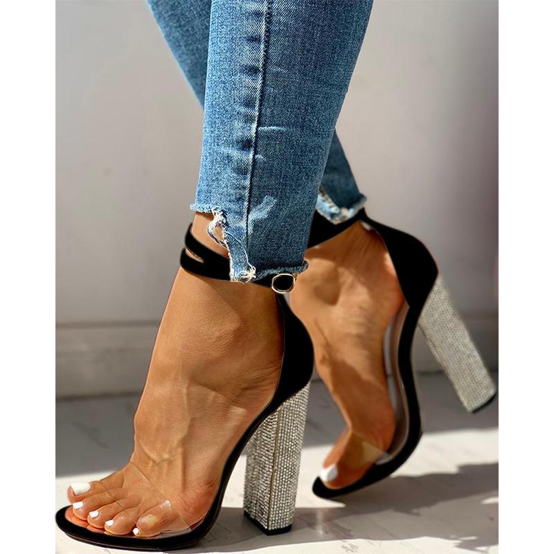 Sandalen weibliche Sommer super hochhackige Schuhe sexy rau mit wasserdichter Knöchelriemen frauen quadratische Ferse Kristall