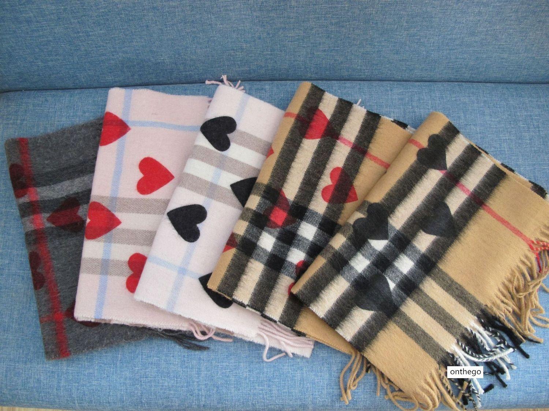 corazón del melocotón impreso pura lana a cuadros bufanda de cachemira bufanda unisex