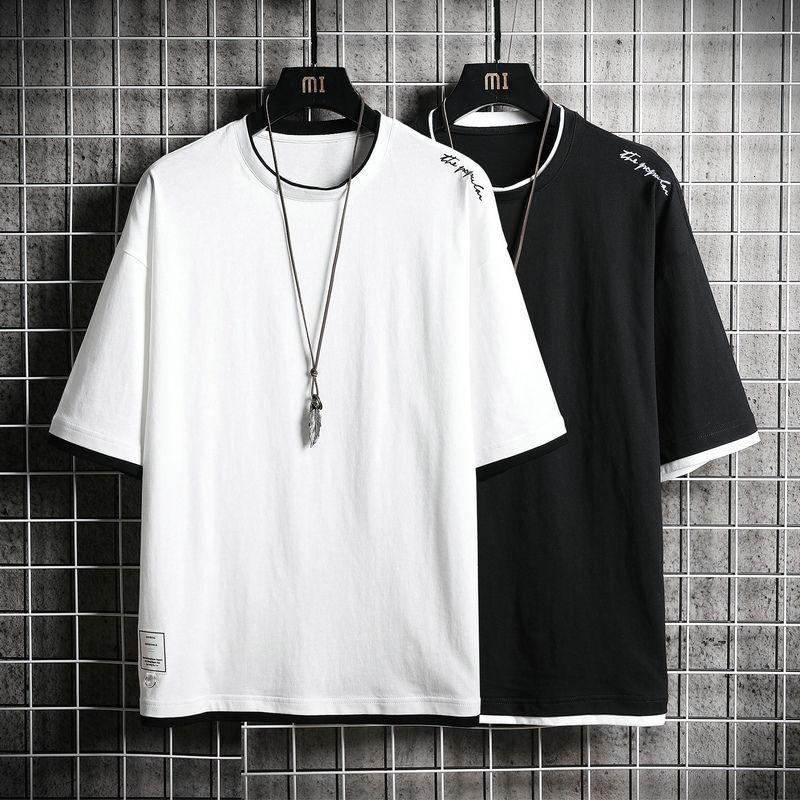 Erkekler Kısa kollu tişört Yeni Yuvarlak Yaka Gevşek Giyim Yaz Modası Pamuk Beyaz Kısa kollu T gömlek erkekler Harajuku