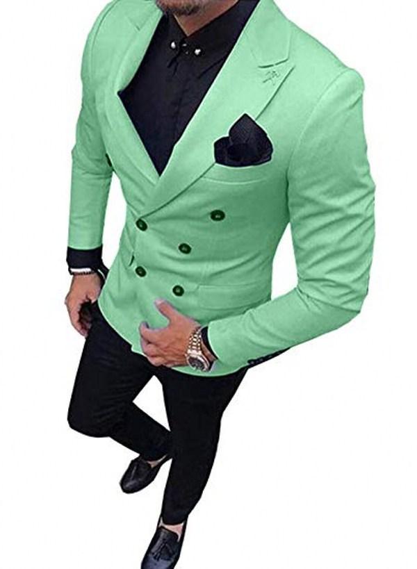 Zweireihiger Dünne Mann-Arbeit Anzug Bräutigam Weddiing Smoking Blazer Herren Partei Anzüge (Jacket + Pants + Tie) D: 369