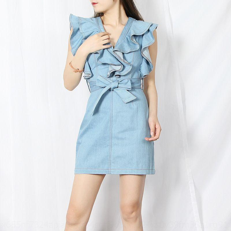 rwdod mKs67 австралийской моды нишу Летняя юбка бренда юбка дизайн чувство 2020 джинсовой новая мода V-образным вырезом воланами талии похудение джинсовой одежды