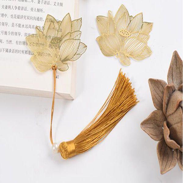 lotus d'or signet creux style chinois cadeau décoration commémorative d'affaires