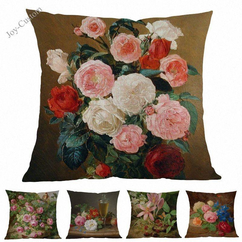 Pintura a óleo floral vintage flor Estilo Europeu Retro Rose Lance elegante fronha Início Sofá decorativa Capa de Almofada wA0c #
