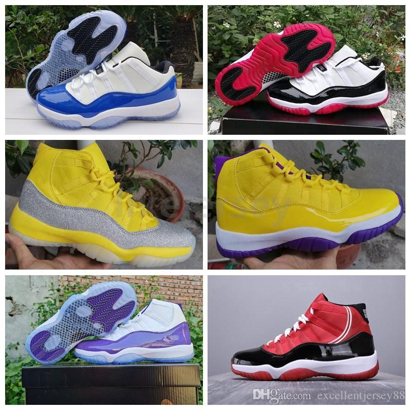 Nouvelle arrivée Jumpman 11 Blanc Bleu Basse Bred Hommes Chaussures de basket-11s RIP Mamba Lakers Hommes Designer Sport Chaussures de sport Entraîneur Zapatos