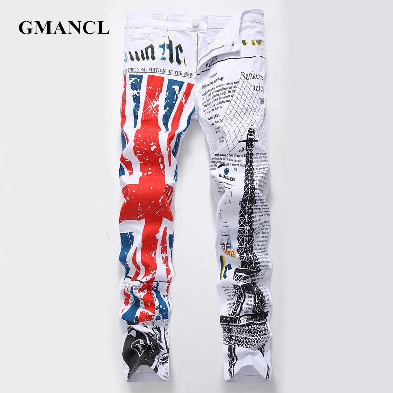 GMANCL Yeni Geliş moda Erkekler Harf Jeans Denim Pantolon 2020 Erkek Düzenli Hip Hop Artı boyutu Casual Düz Jeans Hombre baskılı