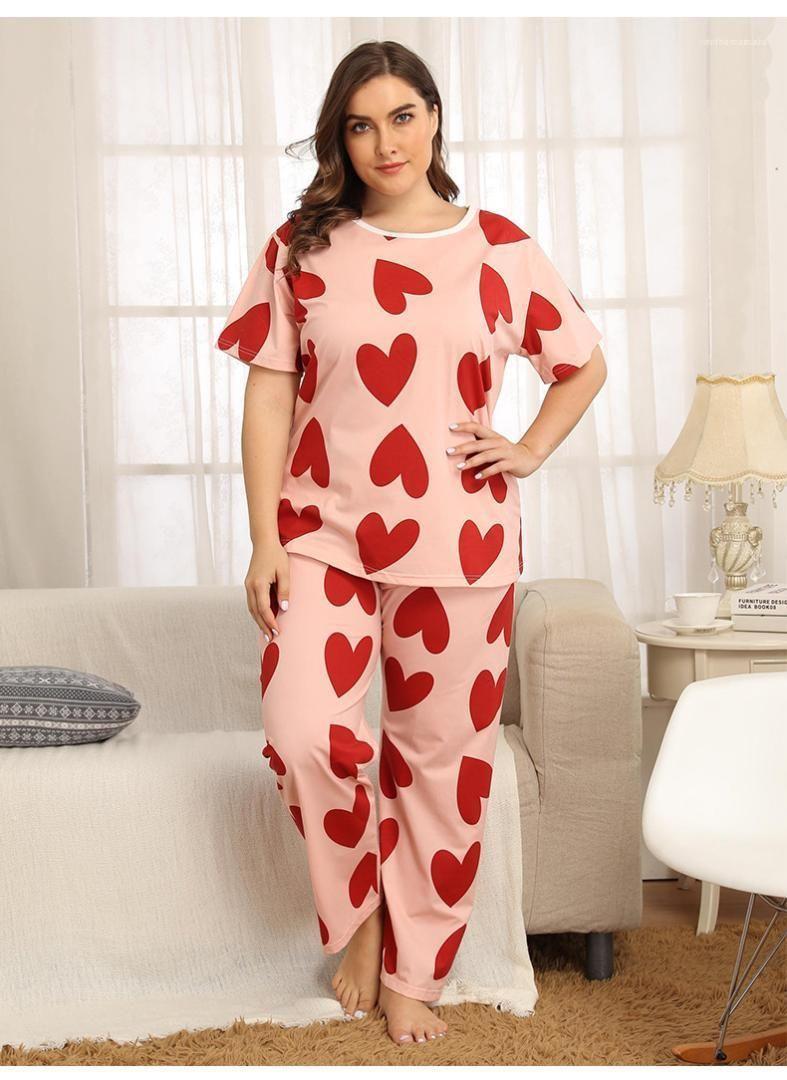 Женская Пижамы Сплошной цвет Полька Dot женщин пижамы с коротким рукавом Экипаж шеи Дамы Весна Лето Повседневный