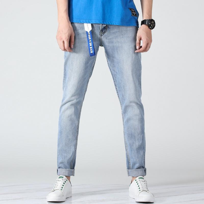 De cor clara, calças masculinas e calças de brim e jeans calças slim juventude estilo coreano moda 2019 Verão New brancas calças compridas simples