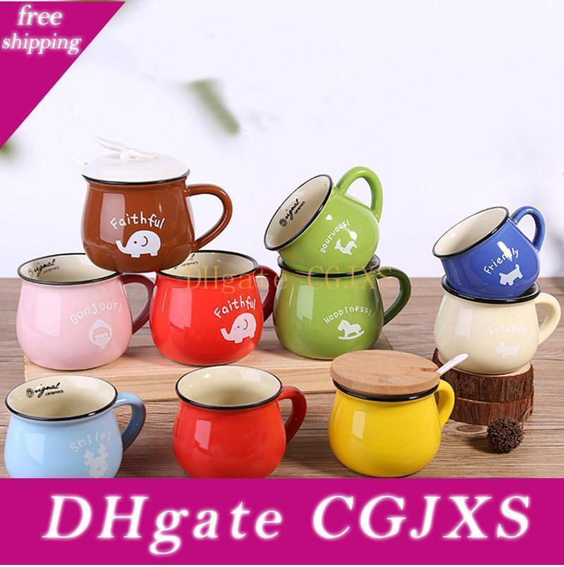 Leche pequeña taza de cerámica resistente al calor desayuno taza de café que bebe una taza de agua 201 7colors -300ml DHL envía HH9 -2101