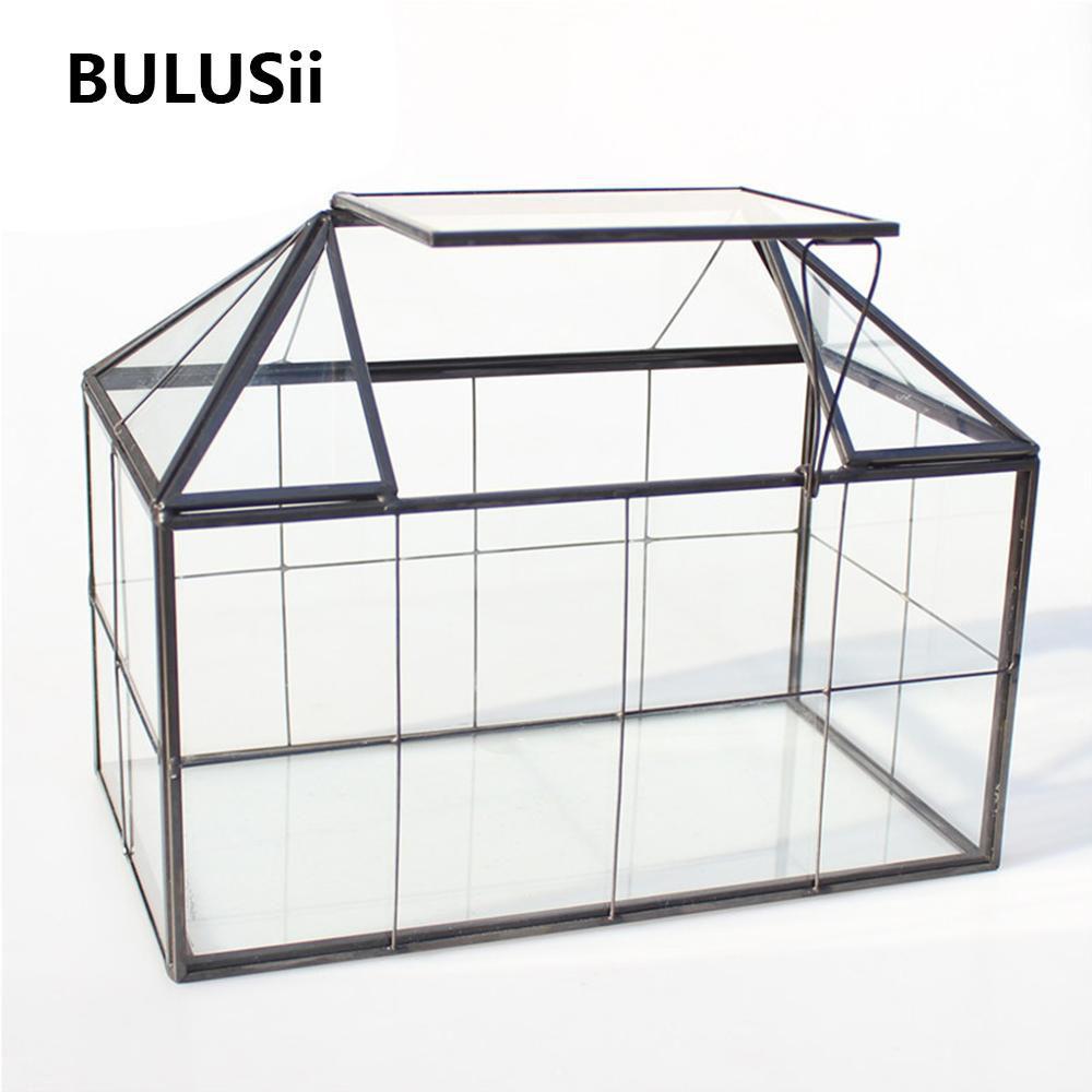 Vidro Terrário Jewelry Box Limpar caixa de vidro, Casa Forma Fechar geométrico Terrário Tabletop Suculenta caixa do plantador