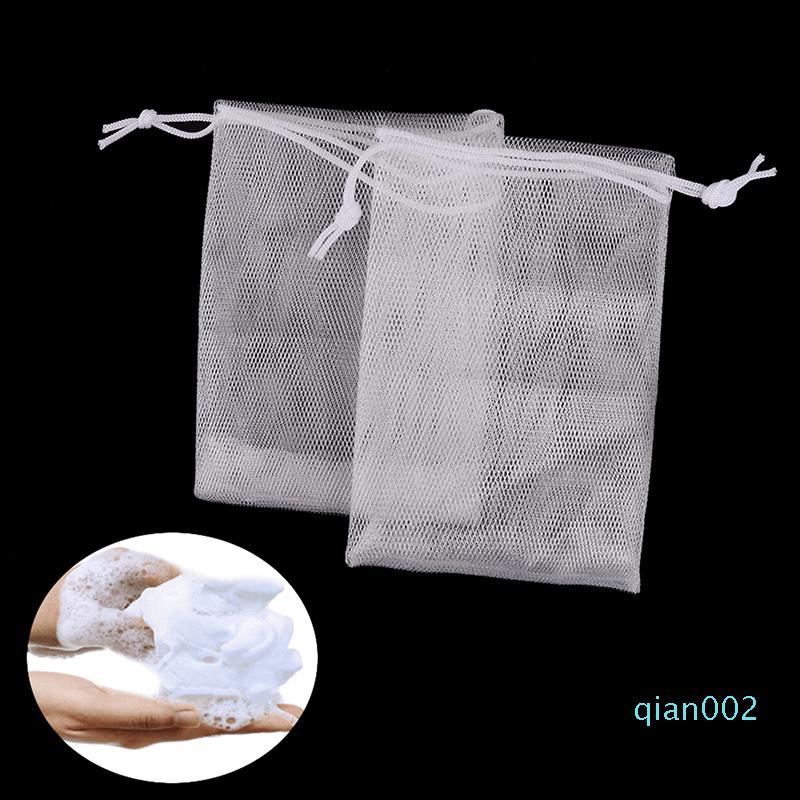 2pcs 3sizes Jabón bolsa de espuma de malla enjabonado Guante para espumar baño de la limpieza de jabón neto guantes de malla de baño de limpieza baño Esponjas Bolsa