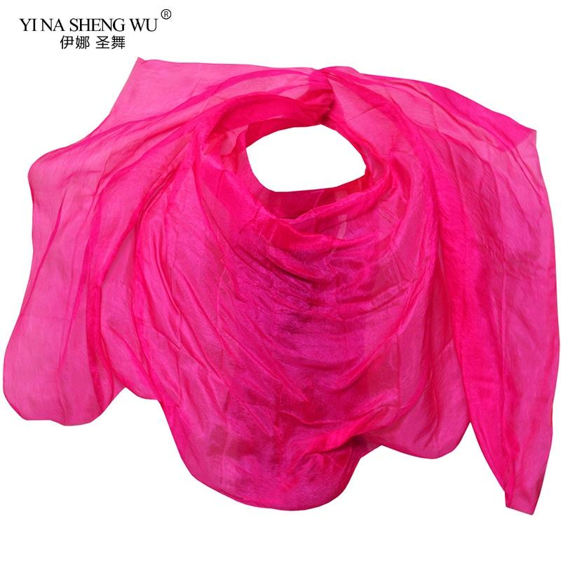 Silk Belly Dance Veil Shawl Scarf Solid Color Belly Dance Practice Performance Silk Veil 250 / 270 * 114 cm Props