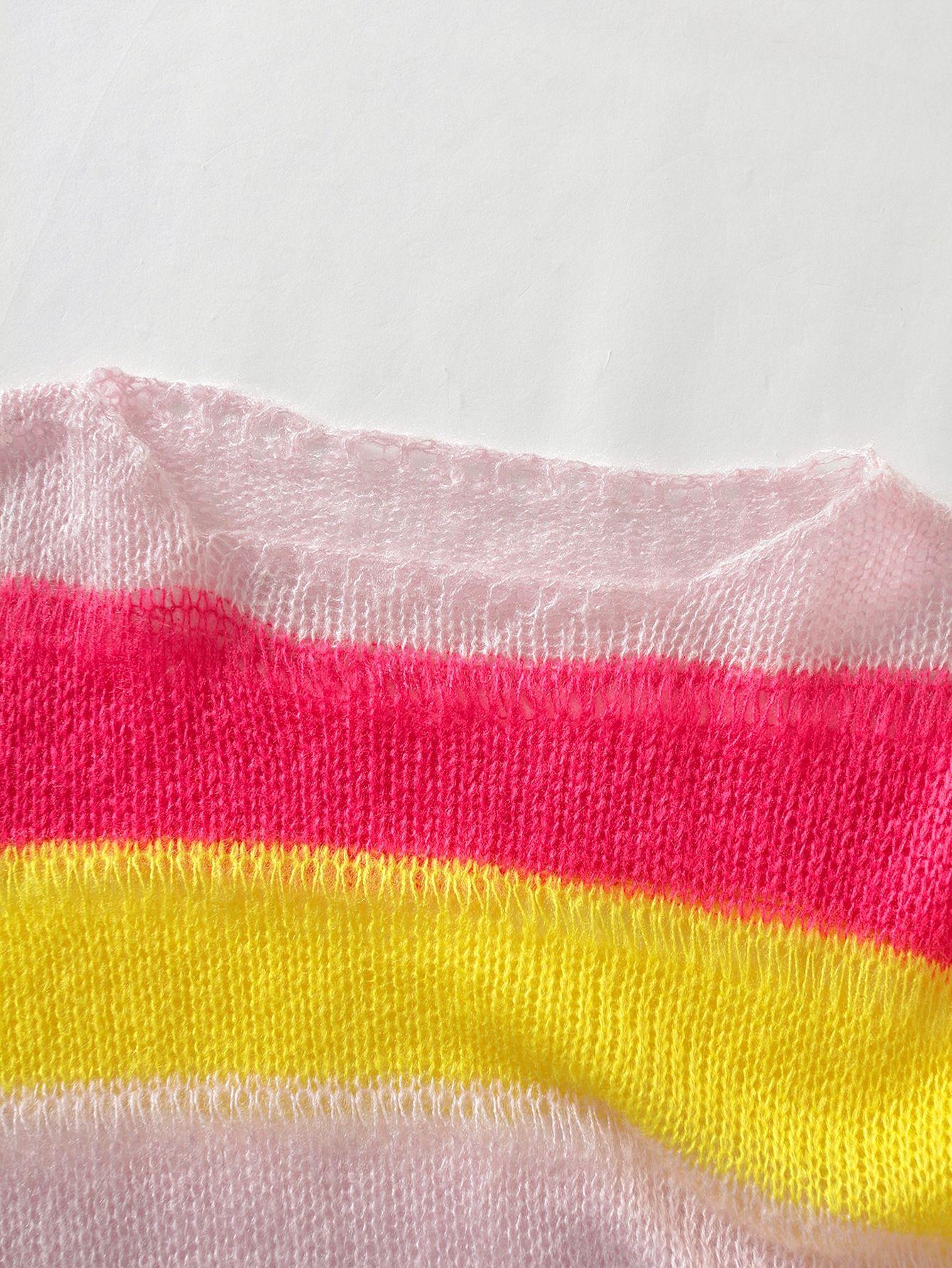 RbGfv одежда Q3422-корейских женщин a9aSp женщин осень / зима Новый ленивый круглый радуги шею свитер полосатый свитер длинный рукав для 2020