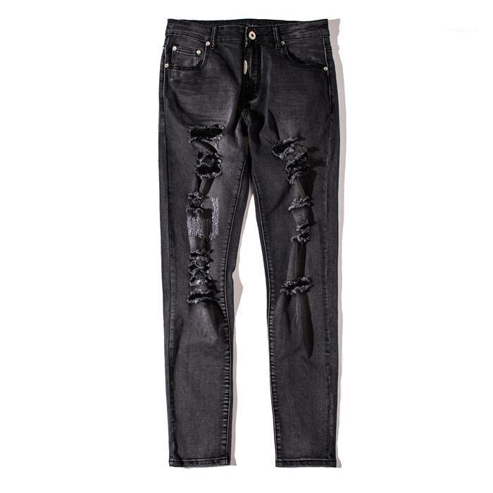 مصمم الجينز ممزق منتصف العرض قلم رصاص السراويل موضة الأسود غسلها جينز رجالي فاخر هول