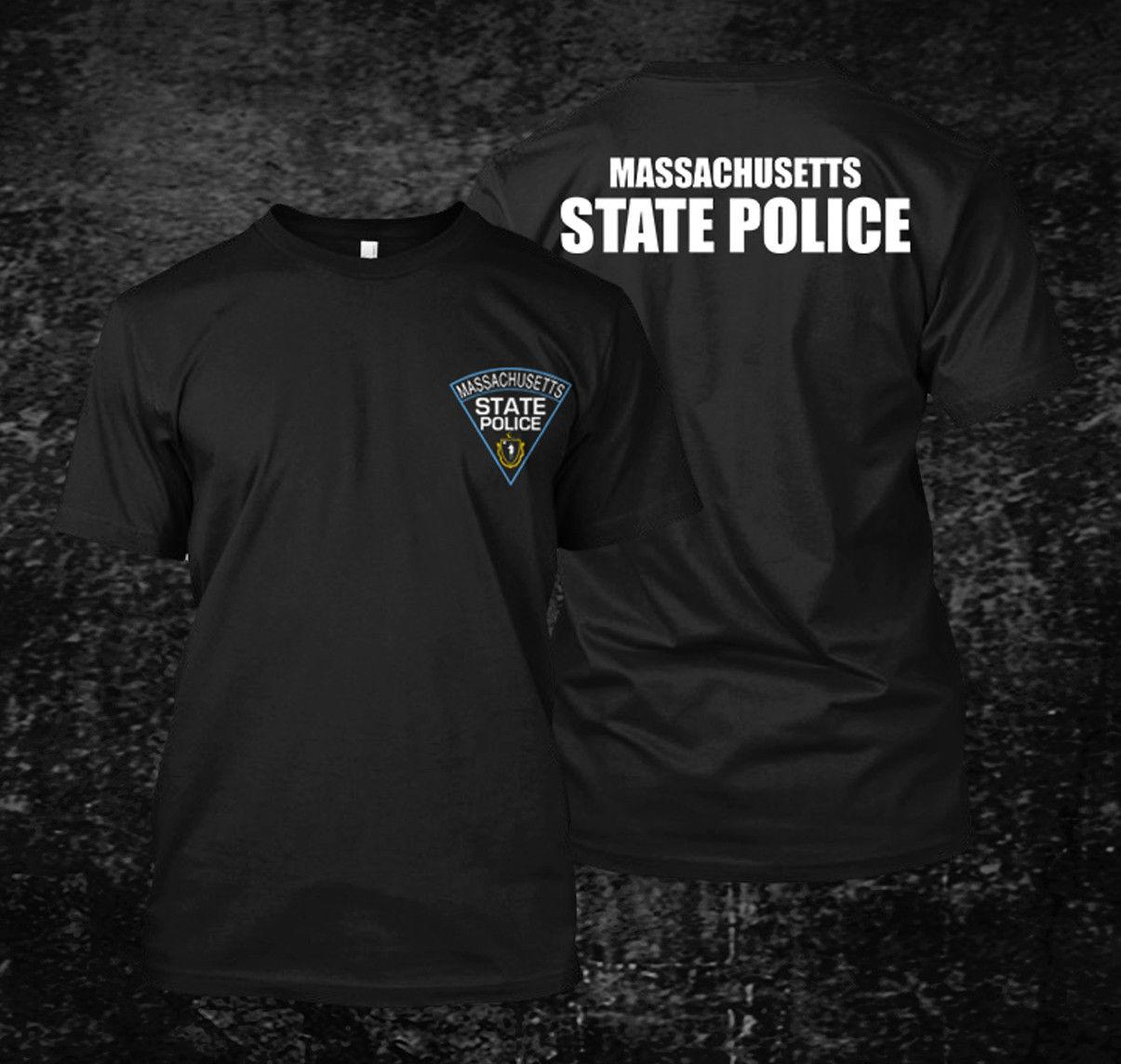 Allentato Black Men magliette Homme T Massachusetts Polizia di Stato Logo - T-shirt da uomo su misura Tee T-shirt stampata Mens