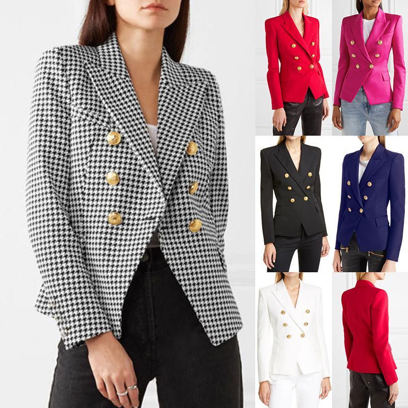 Femmes à double boutonnage Fashion Blazers Houndstooth Hauts solides Nouvelle arrivée femmes Vestes Slim Fit Blazers Tops