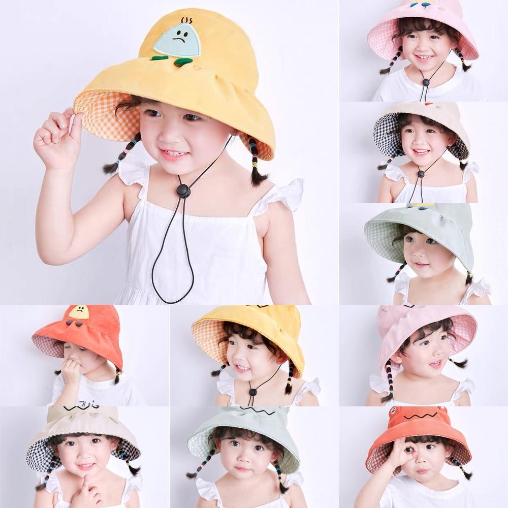 Enfants de pêcheur Automne Nouveau soleil boule de riz dessin animé seau seau bouchon air protection solaire chapeau style coréen bébé fille chapeau