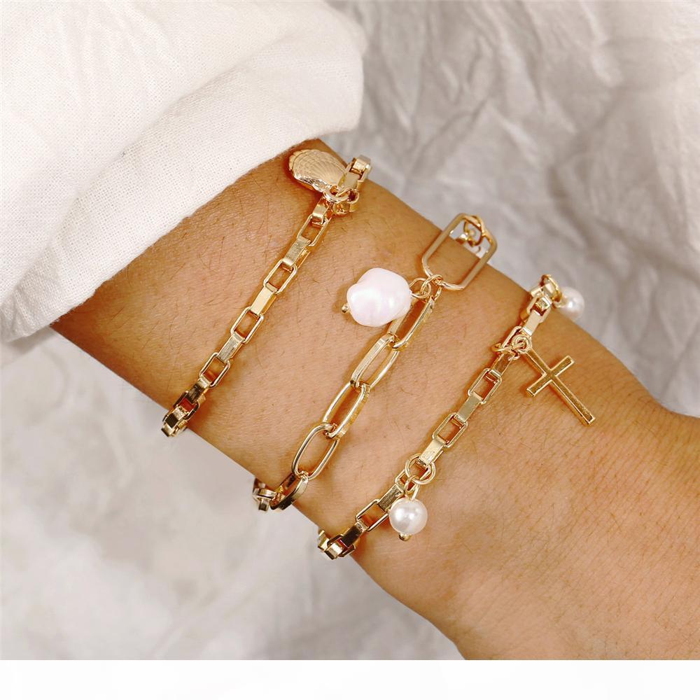 La nuova annata Oro Argento Shell perla di Faux braccialetti trasversali di modo del pendente per le donne Boho Livelli multipli Bracciale Jewelry Set