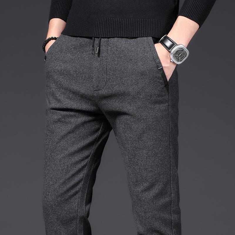 Calças Homens de Negócios Hetero Cotton calças stretch Homem-Borracha Slim Fit Casual Big Plus Size 38 Cinza Preto Azul Pant