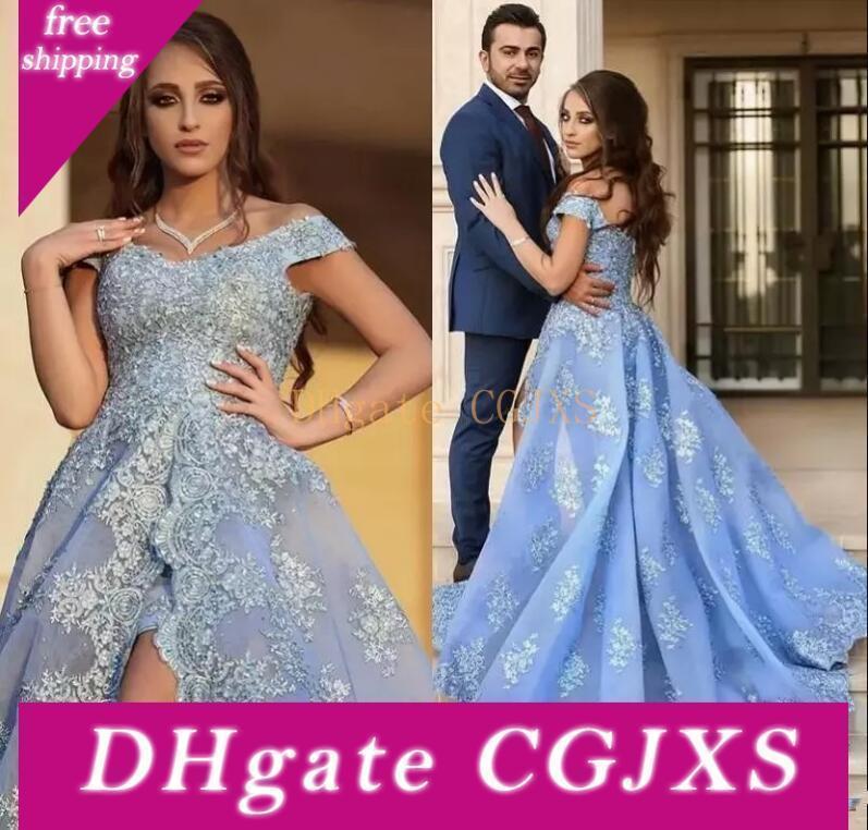 2019 spalle Sky luce blu fuori vestiti da sera delle Appliqued merletto laterale Split lunghi abiti di promenade di sera della celebrità arabo Pageant Wear