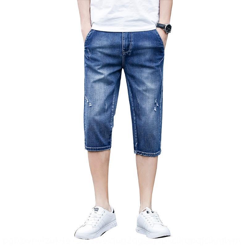 calças qualidade Capri esticar estilo coreano buraco moda br masculina fina e calças de brim Shorts e calças de brim shorts do verão dos homens New dOBhJ