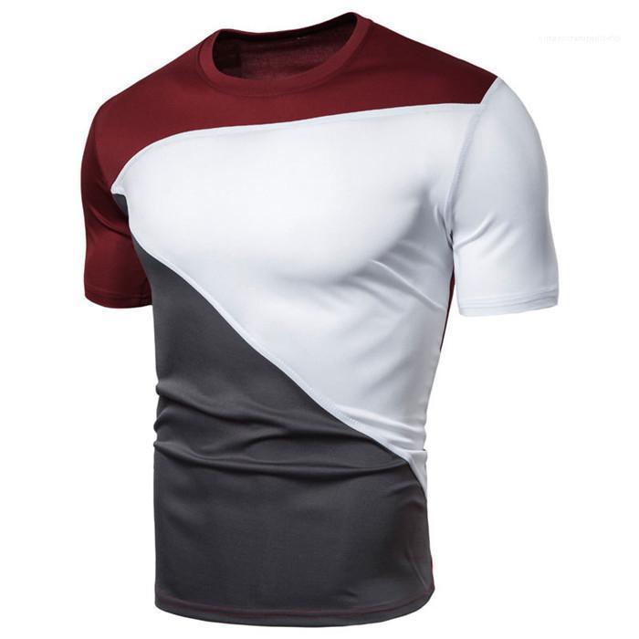 Vestiti della camicia manica corta con pannelli T per i Mens Slim Fit O-Collo Casual Male Estate Tees Homme