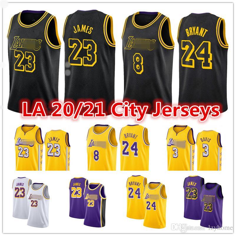 LeBron James 23 Bryant Jersey 2021 Uomo Anthony Davis 3 LosAngelesLakersGiallo Kyle 0 Kuzma nero Città del pullover di pallacanestro