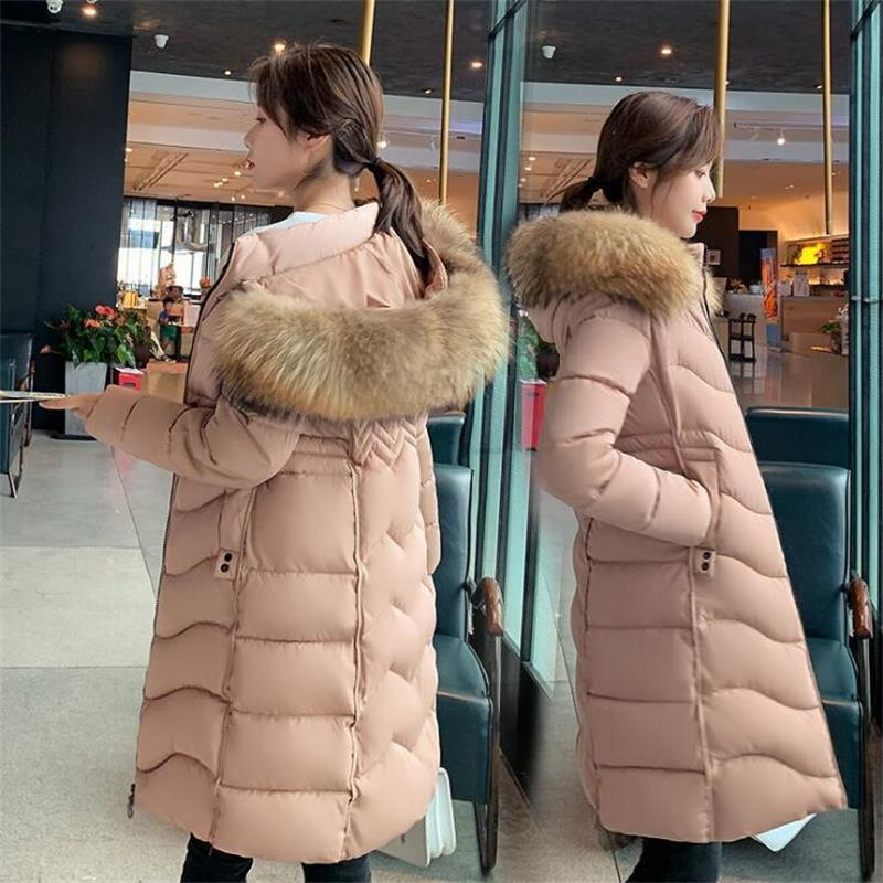 2020 neue Art und Weise Winterjacke Frauen Big Pelz Gürtel mit Kapuze dicker Daunen Parkas X-Long Female-Jacken-Mantel dünner warmen Winter Outwear