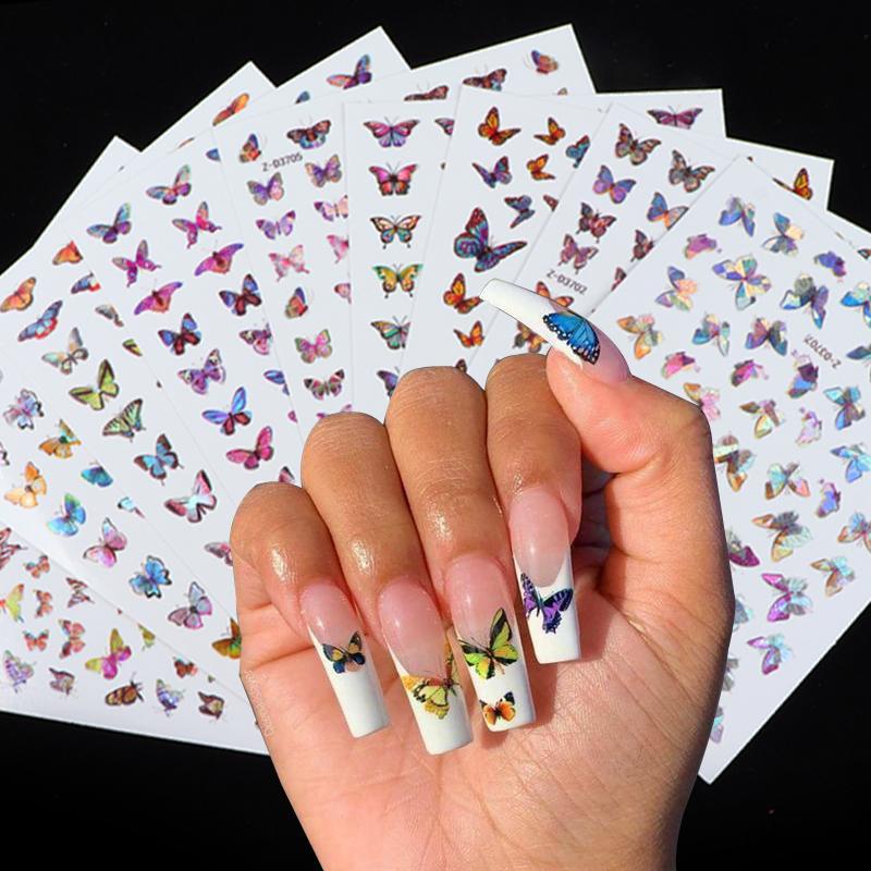 Голографическая бабочка Дизайн наклейки для ногтей Наклейка DIY Slider для маникюра Nail Art Watermark Маникюр Decor