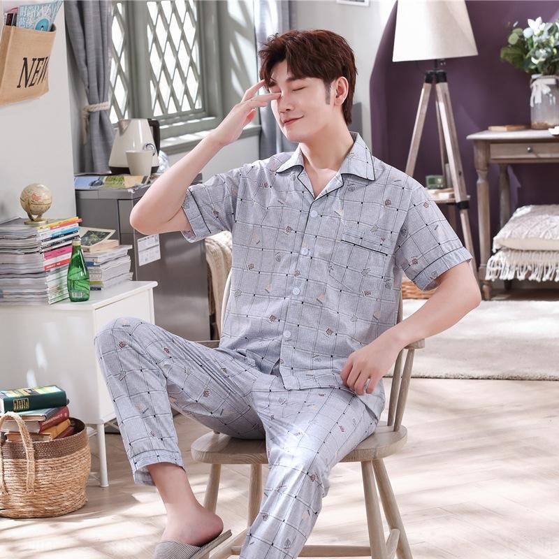 PwpJE afKKo Лето пижамы брюки мужские кардиган короткий рукав новый отворот одежды брюки домашней одежды трикотажные хлопка домашний костюм