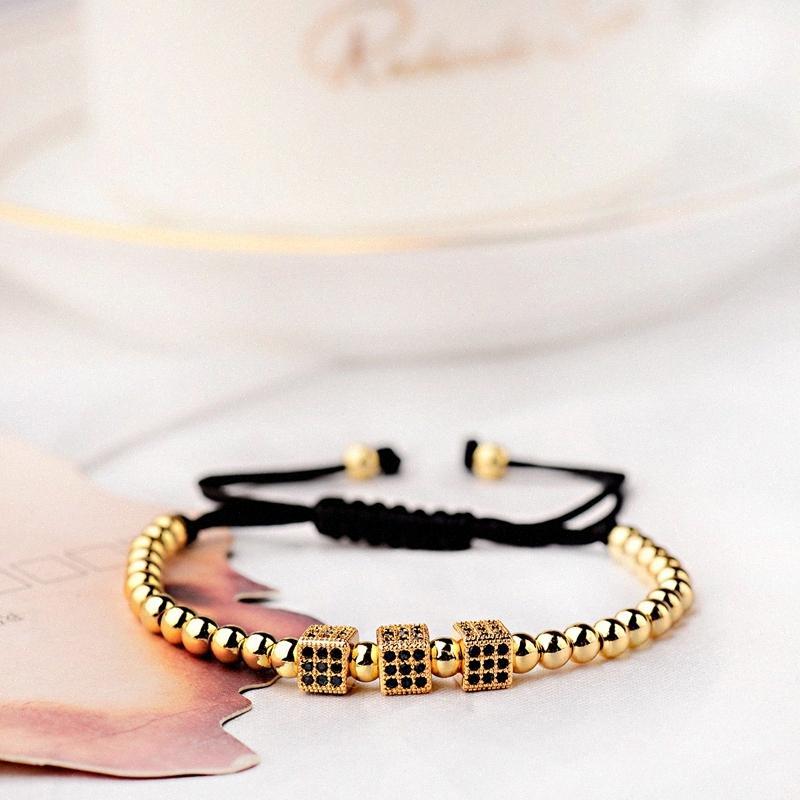 Clássico CZ cobre geométricas pulseiras para Mulheres Homens Hommes Pulseras Preto Cubic Zirconia Praça Charm Bracelet kl0X #