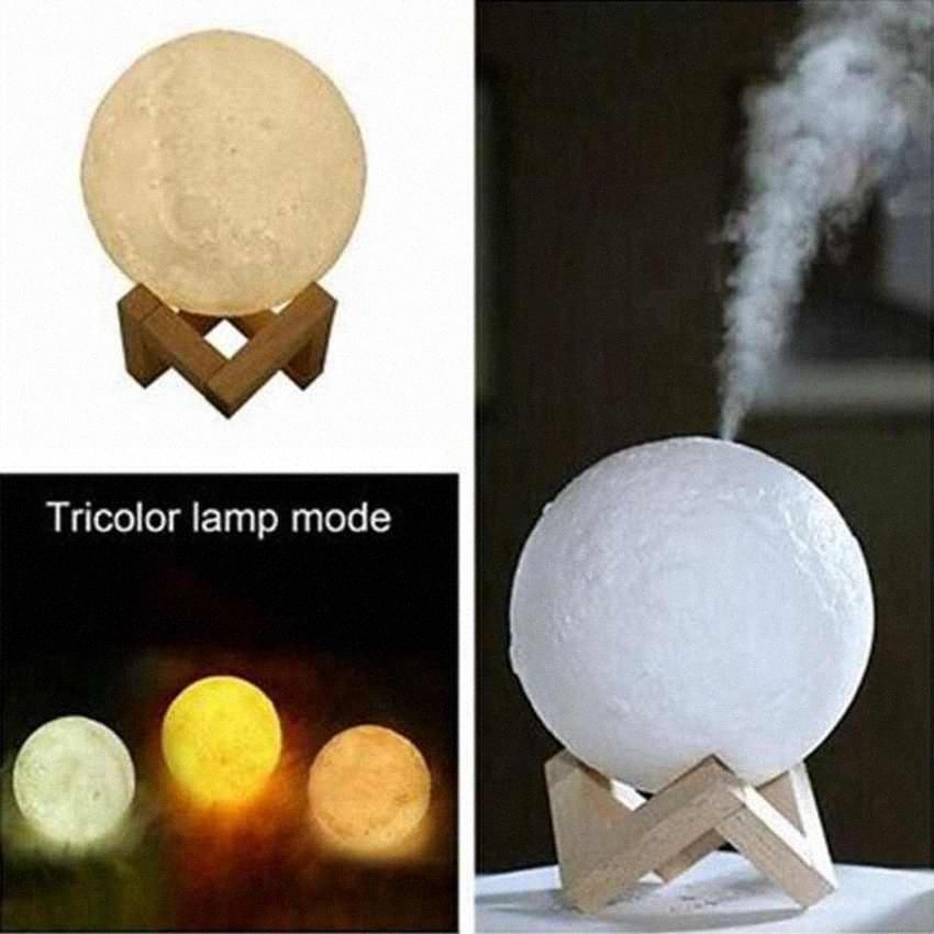 Wesentliche 880ML Öl Diffuser Luftbefeuchter 3D Mond führte Licht-Aroma Diffuser USB Humidificador Nacht Tricolor Mist Purifier ZZA1609 1 Lot TLAM #