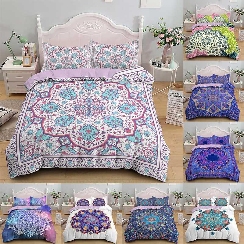Set di biancheria da letto mandala set piumino copripiumino bohemian consolatore adulto ragazza singola regina re