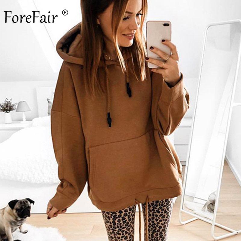 Forefair Oversized Hoodies Women Autumn 2020 Solid Hooded Big Pocket Woman Casual Plus Size Hoodie Sweatshirt
