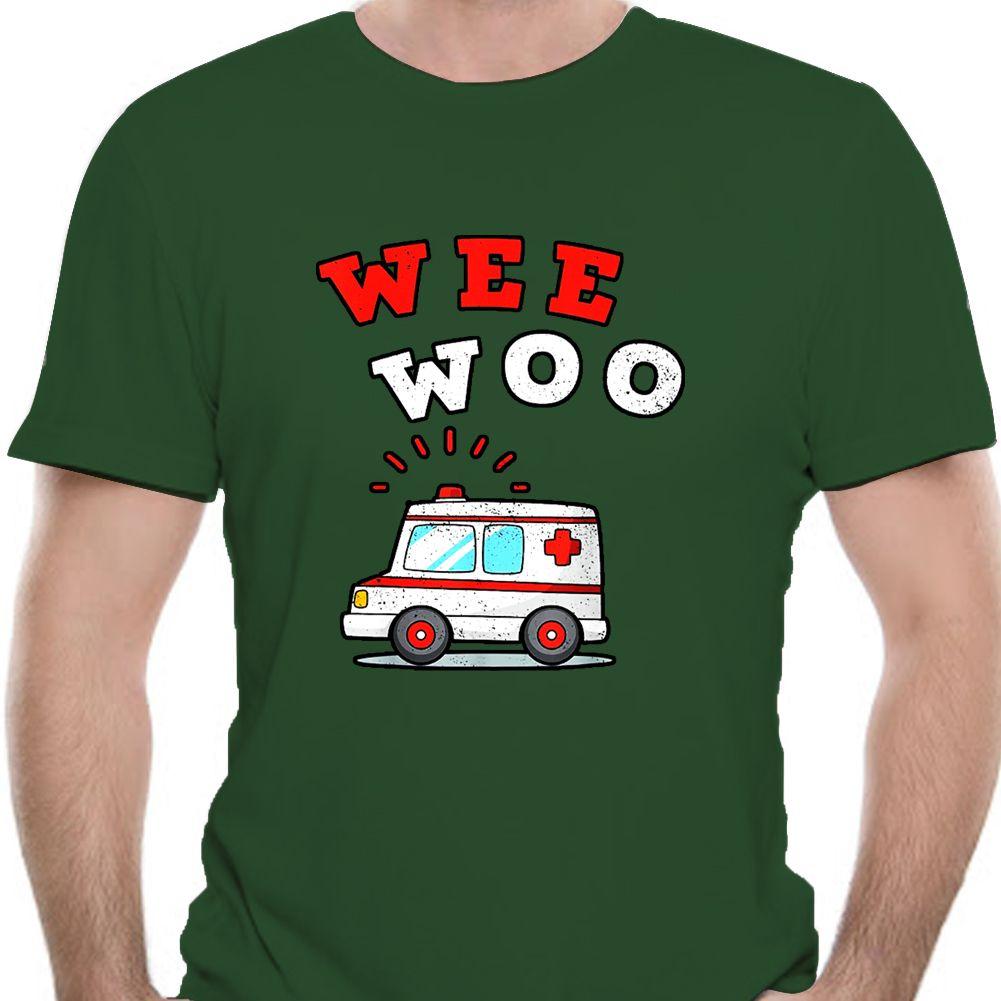 Regalo paramédico Wee Woo ambulancia AMR divertido ems camiseta-4618A