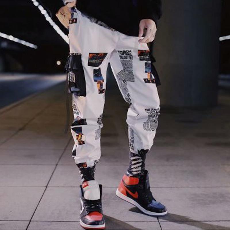 Streetwear Hip Hop Hommes Pantalons Patchwork Pocket Side 2020 New desserrées Joggers Sweatpants hommes cheville Pantalons Longueur Homme