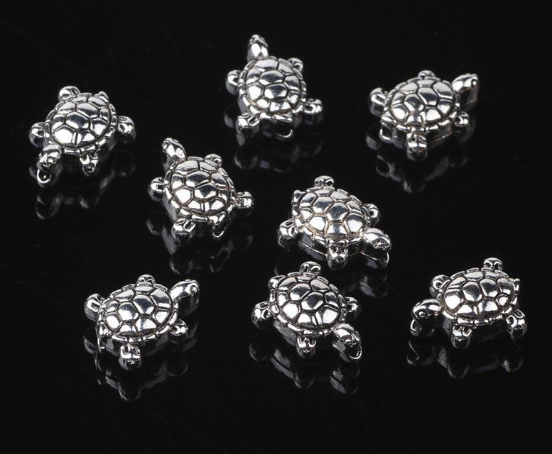 20 قطعة / الوحدة خمر التبتية الفضة سبيكة الحيوان 9 ملليمتر البحر السلاحف الفاصل الخرز لسوار قلادة diy مجوهرات ماكينة